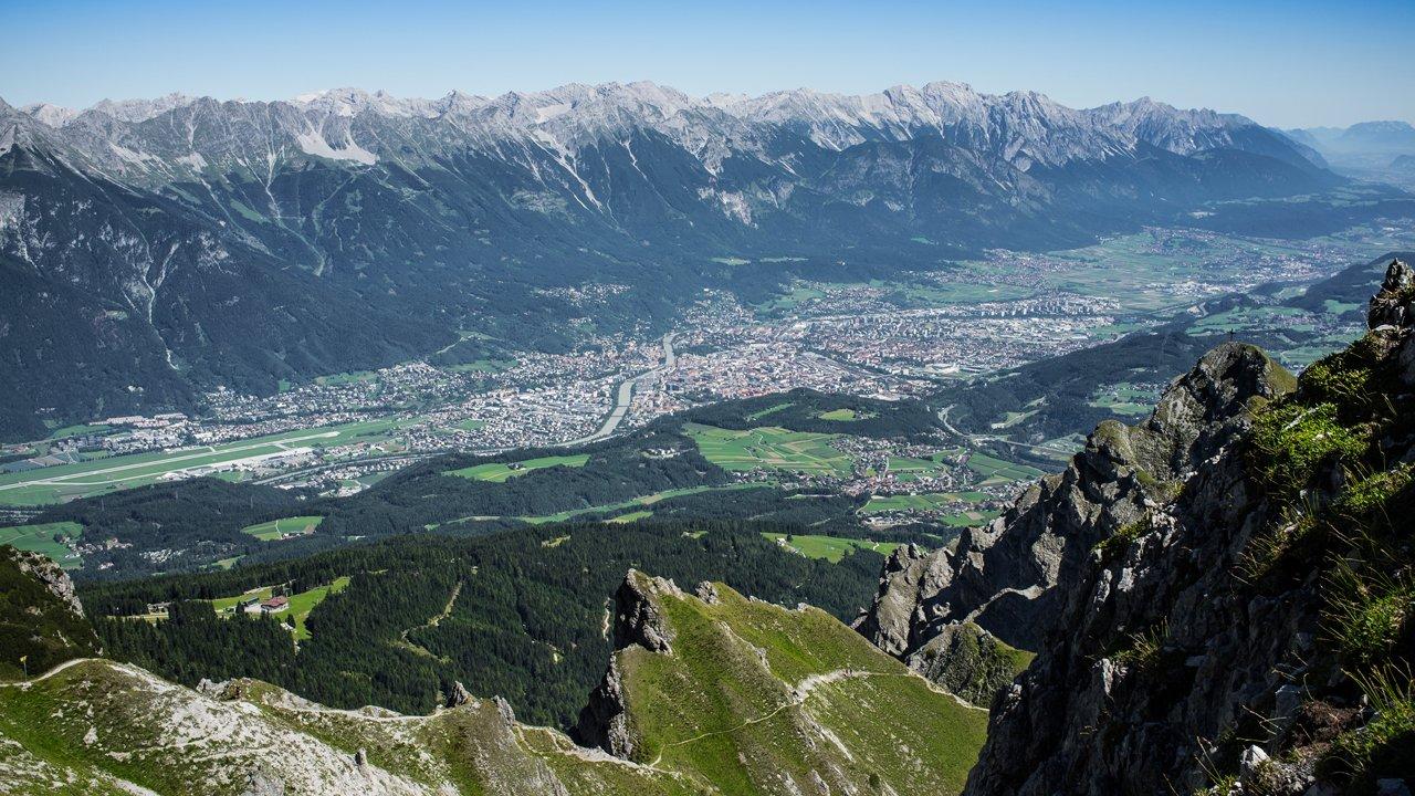Výhled na Innsbruck z vrcholu Nockspitze, © TVB Innsbruck